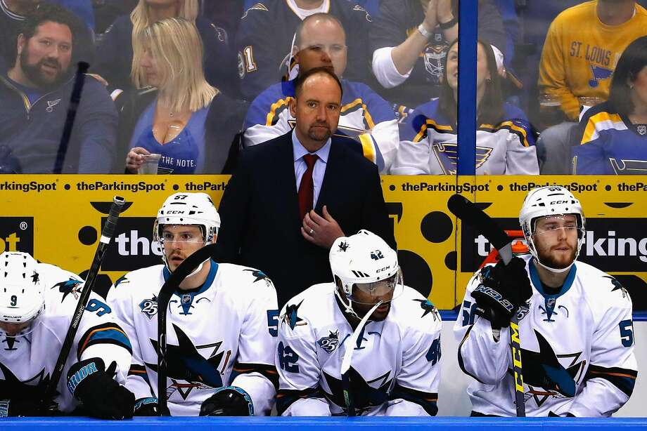 ST LOUIS, MO - MAY 15:  Head Coach Peter DeBoer of the San Jose Sharks looks on during the first period against the St. Louis Blues in Game One of the Western Conference Final during the 2016 NHL Stanley Cup Playoffs at Scottrade Center on May 15, 2016 in St Louis, Missouri.  (Photo by Jamie Squire/Getty Images) Photo: Jamie Squire, Getty Images