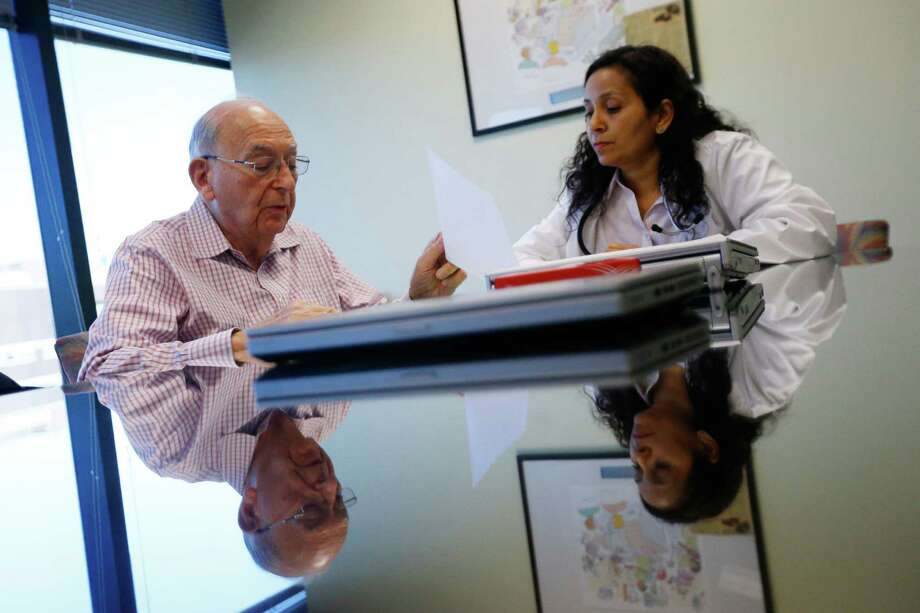 An example of how such conversations are spreading across the country, Herbert Diamond, 88, of Fort Lee, N.J., speaks with Dr. Manisha Parulekar about his end-of-life preferences at the Hackensack Medical Center in Hackensack, N.J. Photo: Julio Cortez, STF / Copyright 2016 The Associated Press. All rights reserved. This material may not be published, broadcast, rewritten or redistribu