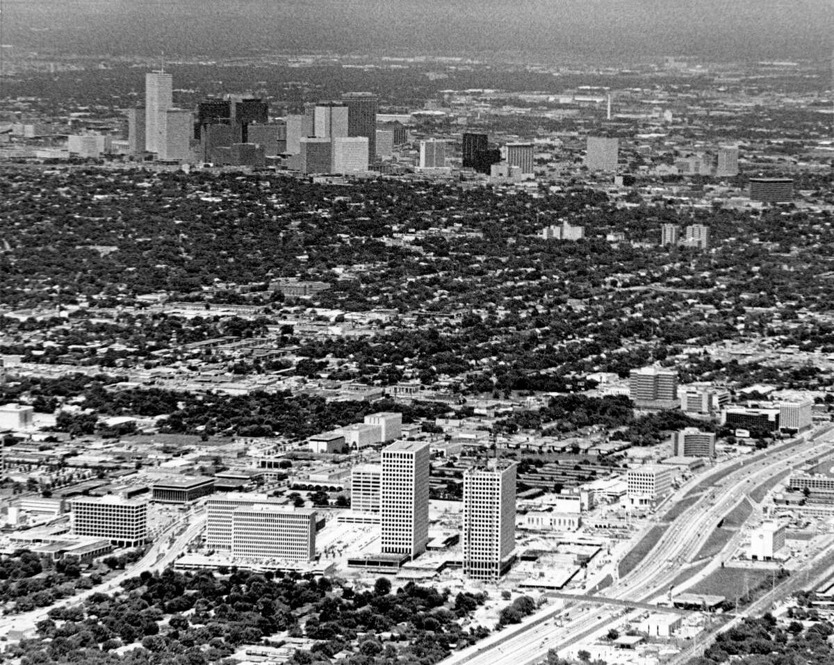 06/21/1972 - aerial view of Greenway Plaza in foreground and downtown Houston skyline in the background.