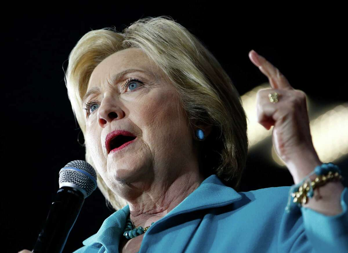 In this photo taken May 24,2016, Democratic presidential candidate Hillary Clinton speaks in Commerce, Calif. Hillary Clinton disregarded State Department cybersecurity guidelines by using a private email account and server, an internal audit found Wednesday, May 25, 2016. Her staff twice brushed aside specific concerns that she wasn't following federal rules. (AP Photo/John Locher) ORG XMIT: WX105