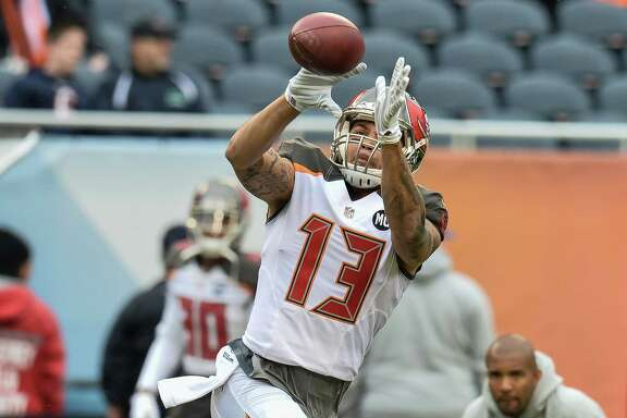 Mike Evans displays the form that has enabled the former Galveston Ball and Texas A&M star to catch 142 passes for 2,257 yards in two years in Tampa Bay.