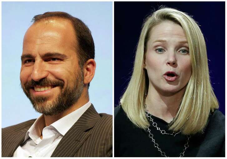 This photo combo shows Expedia CEO Dara Khosrowshahi, left, and Yahoo President and CEO Marissa Mayer. Khosrowshahi and Mayer were two of the highest-paid CEOs in 2015, as calculated by The Associated Press and Equilar, an executive data firm. (Expedia via AP, left, and AP Photo/Eric Risberg)