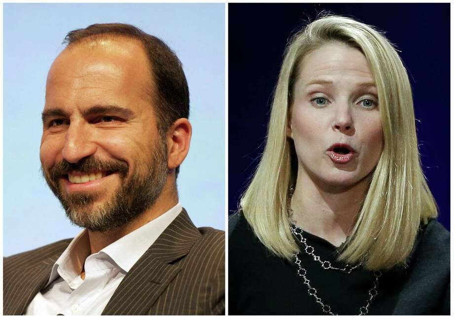 This photo combo shows Expedia CEO Dara Khosrowshahi, left, and Yahoo President and CEO Marissa Mayer. Khosrowshahi and Mayer were two of the highest-paid CEOs in 2015, as calculated by The Associated Press and Equilar, an executive data firm. (Expedia via AP, left, and AP Photo/Eric Risberg) Photo: HONS / Expedia and AP
