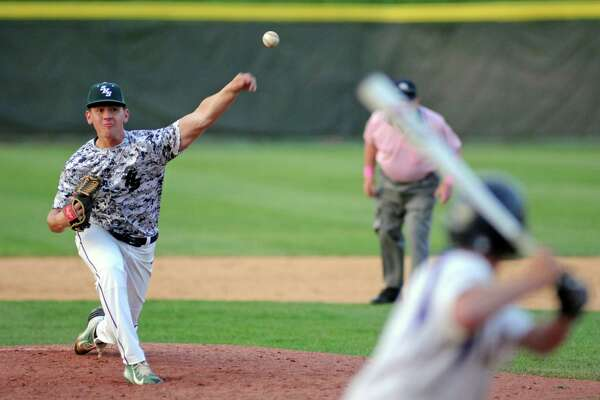Schalmont's Chris Hamilton deals a pitch during their Class BB high school baseball final against  Saratoga Central Catholic at Joseph Bruno Stadium on Wednesday May 25, 2016 in Troy, N.Y. (Michael P. Farrell/Times Union)