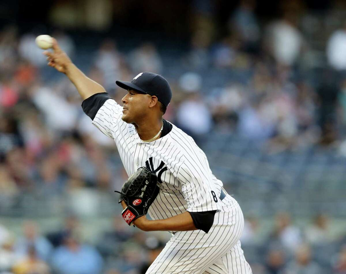 NEW YORK, NY - MAY 25: Ivan Nova #47 of the New York Yankees delivers a pitch in the first inning against the Toronto Blue Jays at Yankee Stadium on May 25, 2016 in the Bronx borough of New York City. (Photo by Elsa/Getty Images) ORG XMIT: 607678197