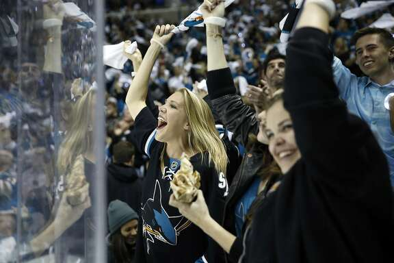 San Jose Sharks' fan Monica Junge of Sunnyvale celebrates Joe Pavelski's 1st period goal against St. Louis Blues in Game 6 of NHL Playoffs' Western Conference Finals at SAP Center in San Jose, Calif., on Wednesday, May 25, 2016.