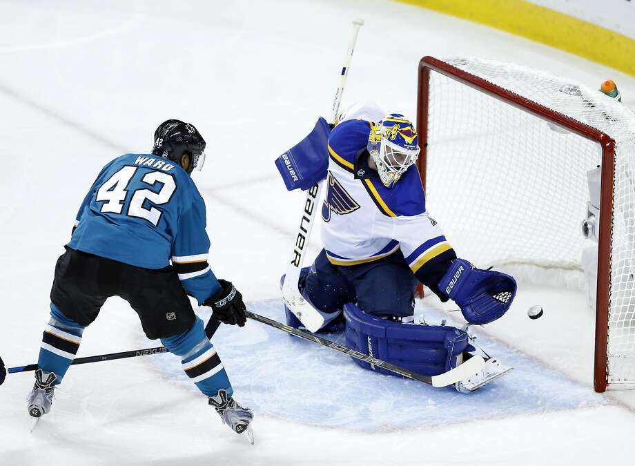 San Jose Sharks' Joel Ward scores a 3rd period goal, his second of the game, against St. Louis Blues' Brian Elliott during Sharks' 5-2 win in Game 6 of NHL Playoffs' Western Conference Finals at SAP Center in San Jose, Calif., on Wednesday, May 25, 2016. Photo: Scott Strazzante, The Chronicle