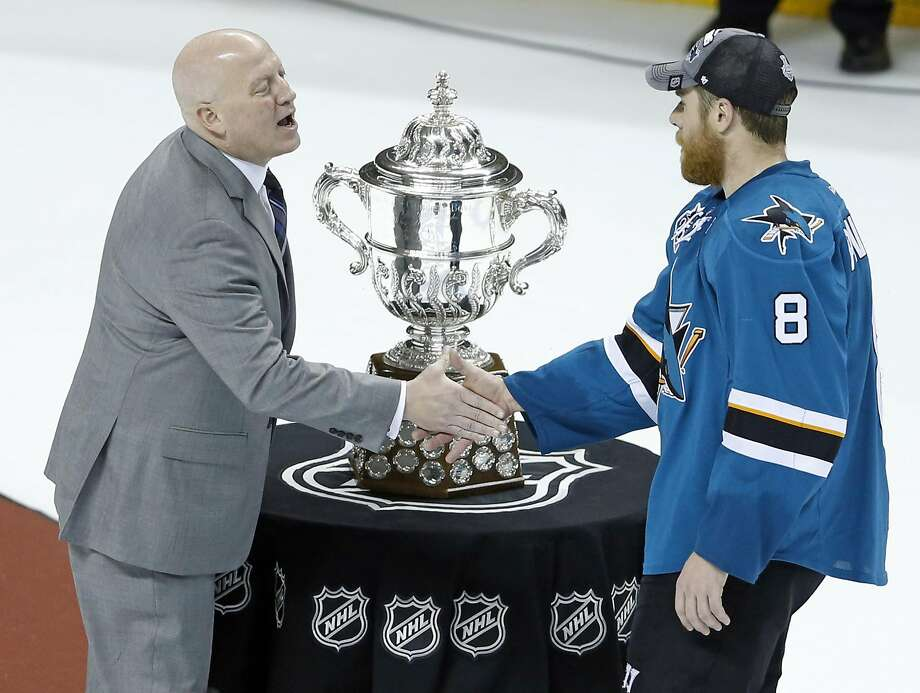 NHL Deputy Commissioner Bill Daly presents the Clarence S. Campbell Bowl to San Jose Sharks' Joe Pavelski after Sharks' 5-2 win over St. Louis Blues in Game 6 of NHL Playoffs' Western Conference Finals at SAP Center in San Jose, Calif., on Wednesday, May 25, 2016. Photo: Scott Strazzante, The Chronicle