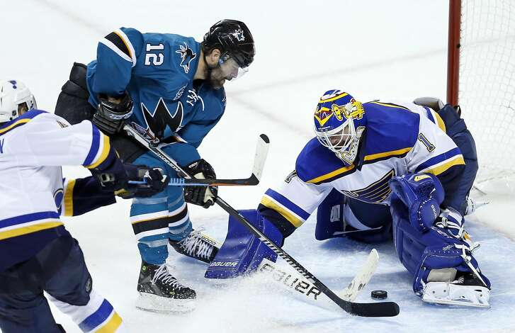 San Jose Sharks' Patrick Marleau is stopped by St. Louis Blues' Brian Elliott in 3rd period of Sharks' 5-2 win in Game 6 of NHL Playoffs' Western Conference Finals at SAP Center in San Jose, Calif., on Wednesday, May 25, 2016.