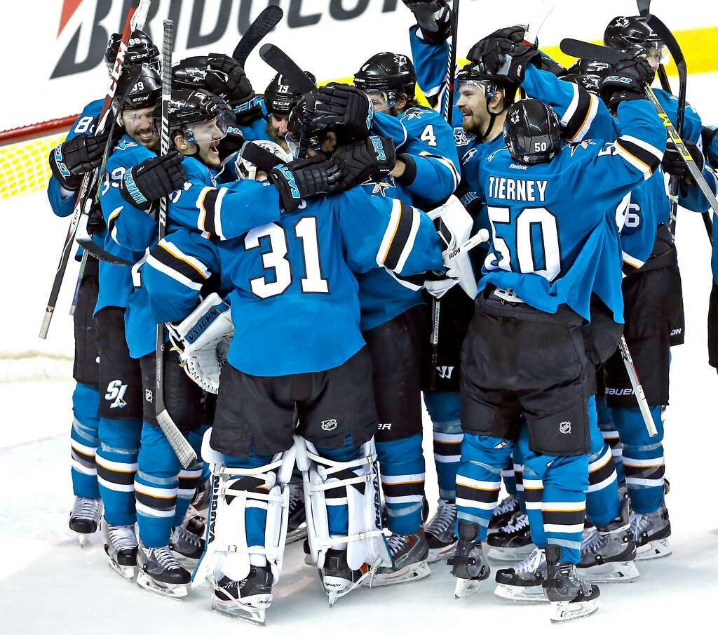 joel ward s goals key to sharks historic victory sfgate san jose sharks surround martin jones after sharks 5 2 win over st