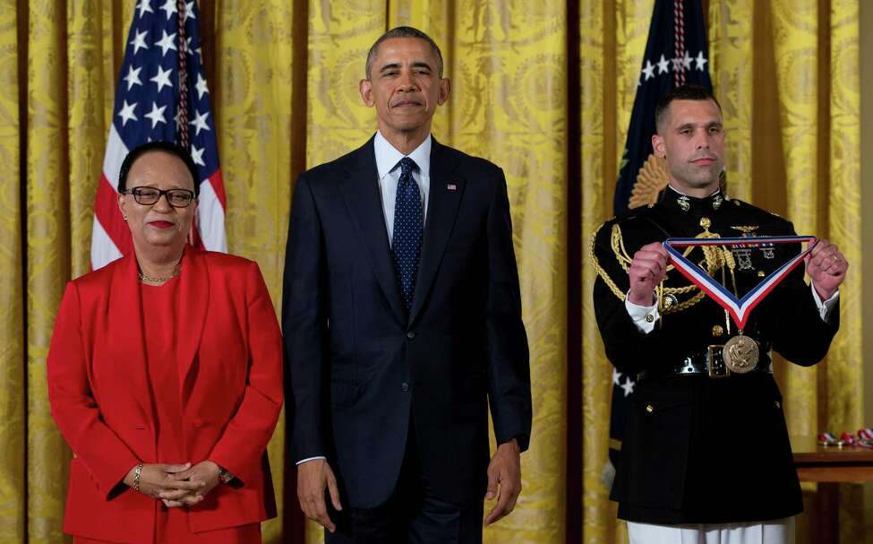 President Barack Obama stands with Dr. Shirley Ann Jackson, Rensselaer Polytechnic Institute, N.Y., before awarding her the National Medal of Science, Thursday, May 19, 2016, during a ceremony in the East Room of the White House in Washington. (AP Photo/Carolyn Kaster) ORG XMIT: DCCK113