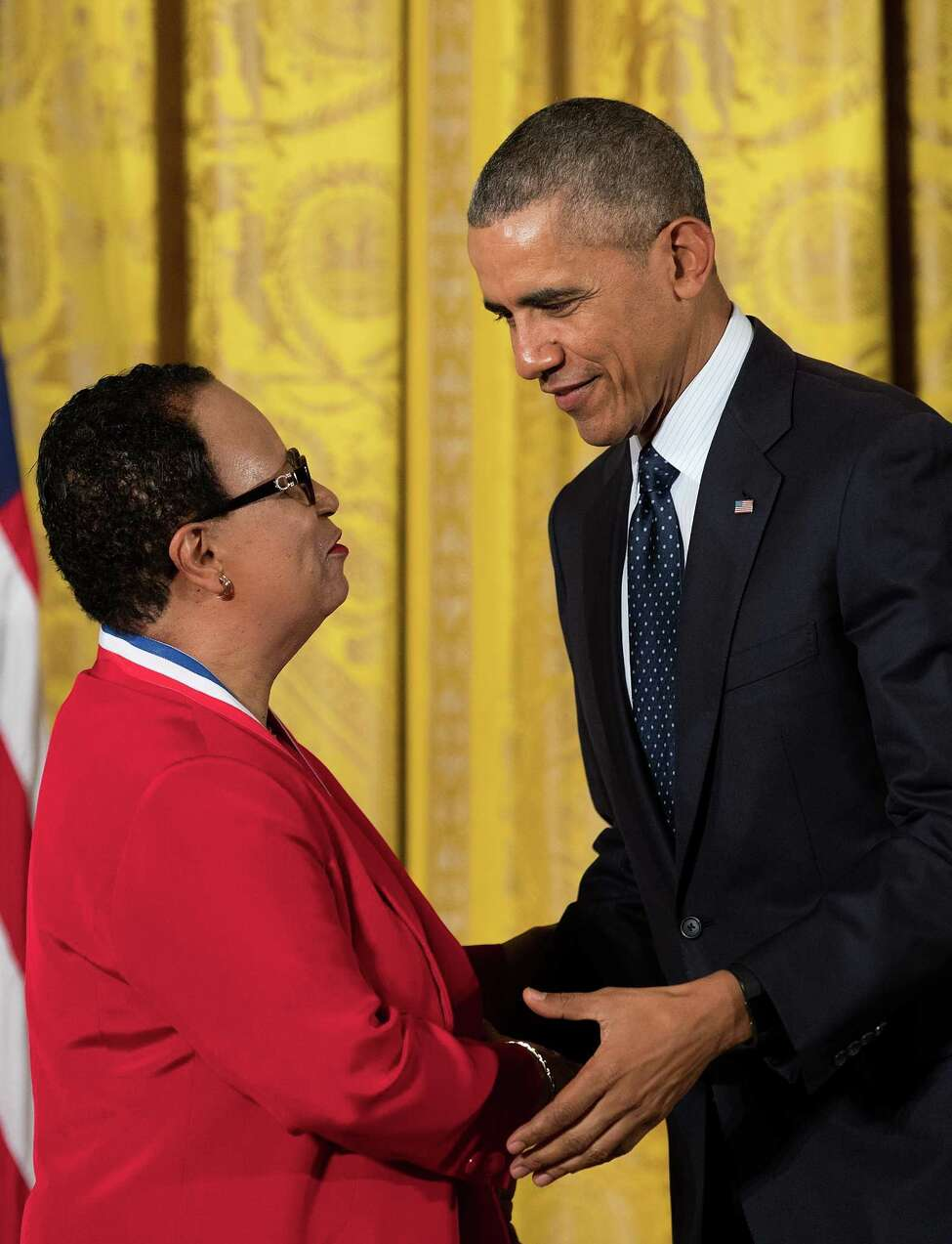 WASHINGTON, DC - MAY 19: (L-R) Dr. Shirley Ann Jackson, Rensselaer Polytechnic Institute, shakes hands with President Barack Obama after receiving the National Medal of Science, during a ceremony in the East Room of the White House, May 19, 2016, in Washington, DC. Established in 1959, the National Medal of Science recognizes individuals who have made outstanding contributions to science and engineering. The National Medal of Technology and Innovation, created in 1980, recognizes those who have made contributions to America's competitiveness, quality of life, and helped strengthen the country's technological workforce. (Photo by Drew Angerer/Getty Images) ORG XMIT: 640204835