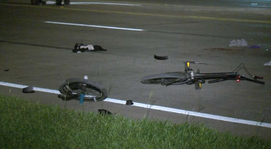In this photo: The bicycle of a 7-year-old boy who was struck by a car in Northwest Harris County. Photo: Screen Shots Via Metro Video