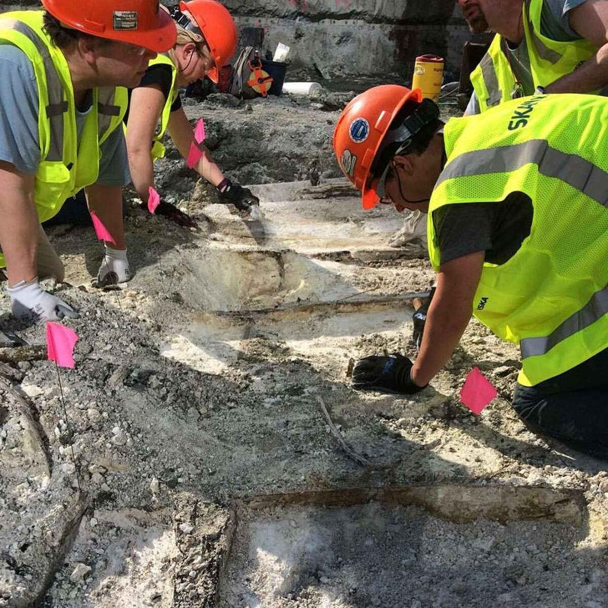 Archaeologists work at the site of a recently unearthed shipwreck in the Dorchester section of Boston in May 2016. (City of Boston Archaeology Program)
