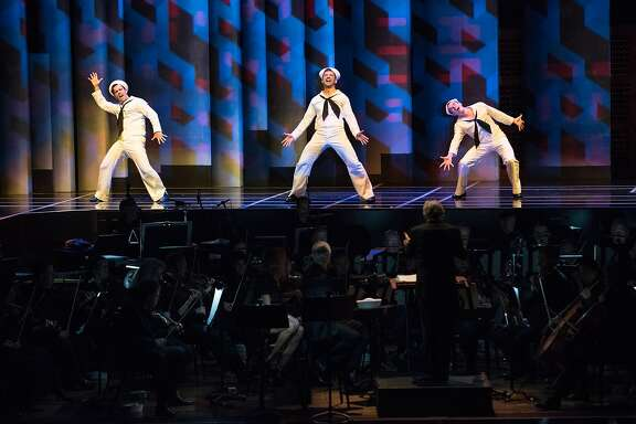 "Clyde Alves (Ozzie), Tony Yazbeck (Gabey), Jay Armstrong Johnson (Chip) in the San Francisco Symphony's semi-staged production of ""On the Town"""