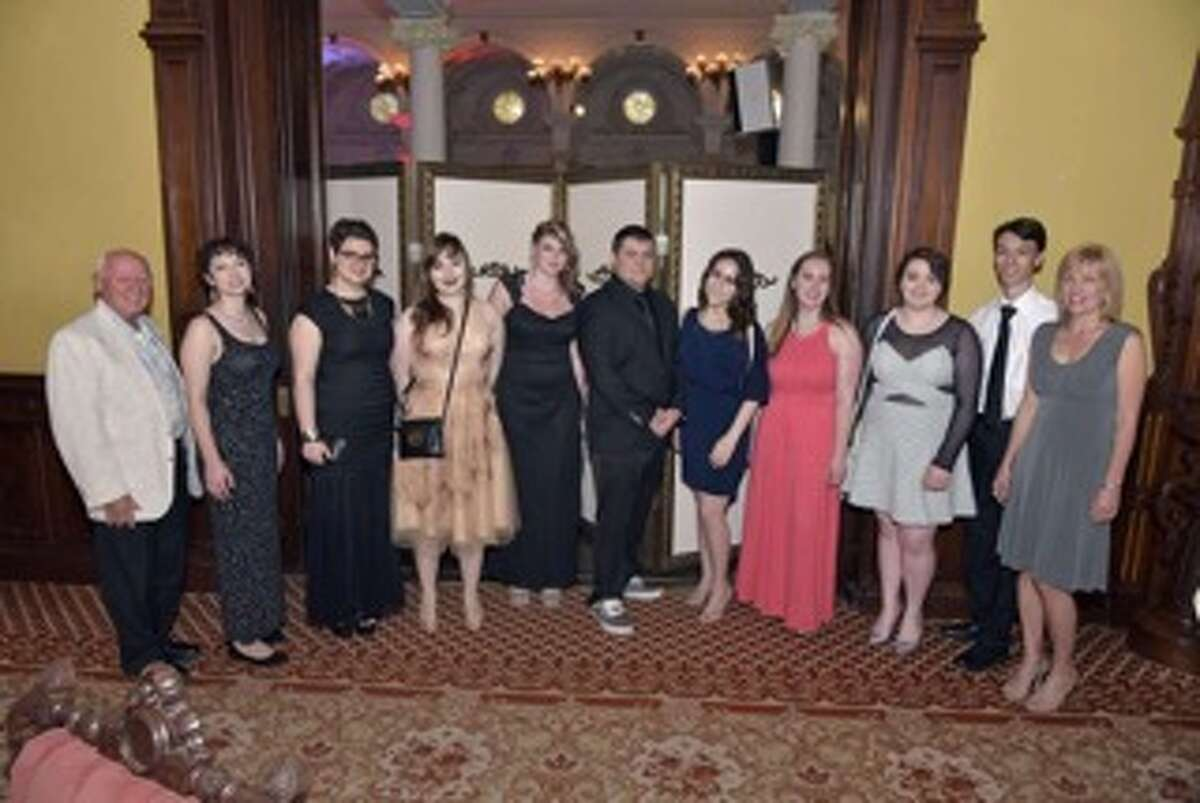 Peter Haley, left, and some of the youngest members of the Siena Opera Club at the Canfield Casino on May 6.