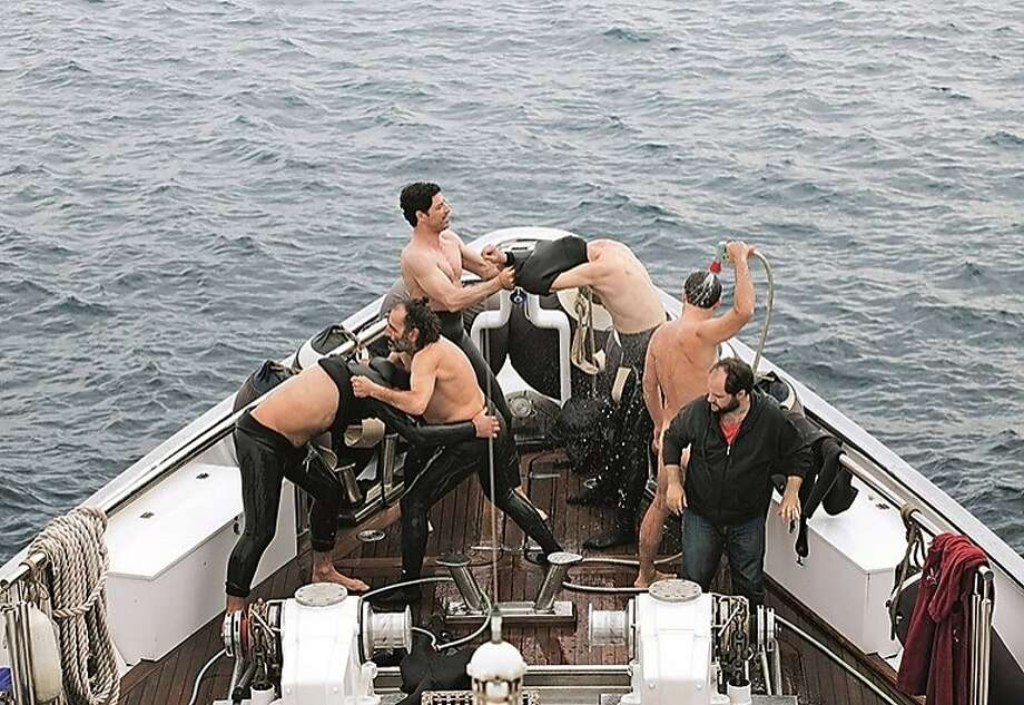 """May the best man win? Six friends vie to outperform each other in testosterone-fueled competitions in """"Chevalier."""" Photo: Strand Releasing"""