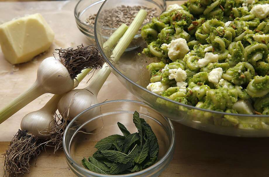 Ingredients for pasta salad by Josh Even of Tosca Cafe in S.F. Photo: Liz Hafalia, The Chronicle