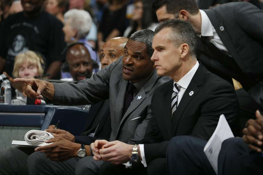 Oklahoma City Thunder assistant coach Maurice Cheeks, back, confers with Oklahoma City Thunder head coach Billy Donovan in the first half of an NBA basketball game Tuesday, April 5, 2016, in Denver. (AP Photo/David Zalubowski) Photo: David Zalubowski, AP