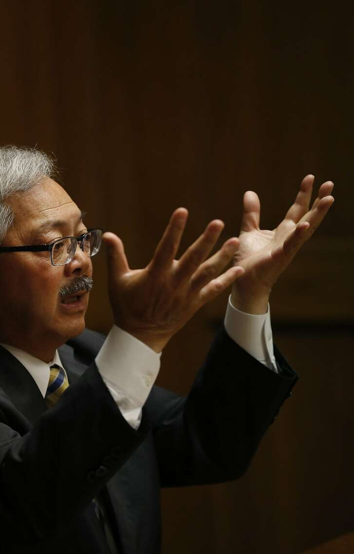 Mayor Ed Lee answers questions during a meeting with the San Francisco Chronicle's Editorial Board May 26, 2016 in San Francisco, Calif.