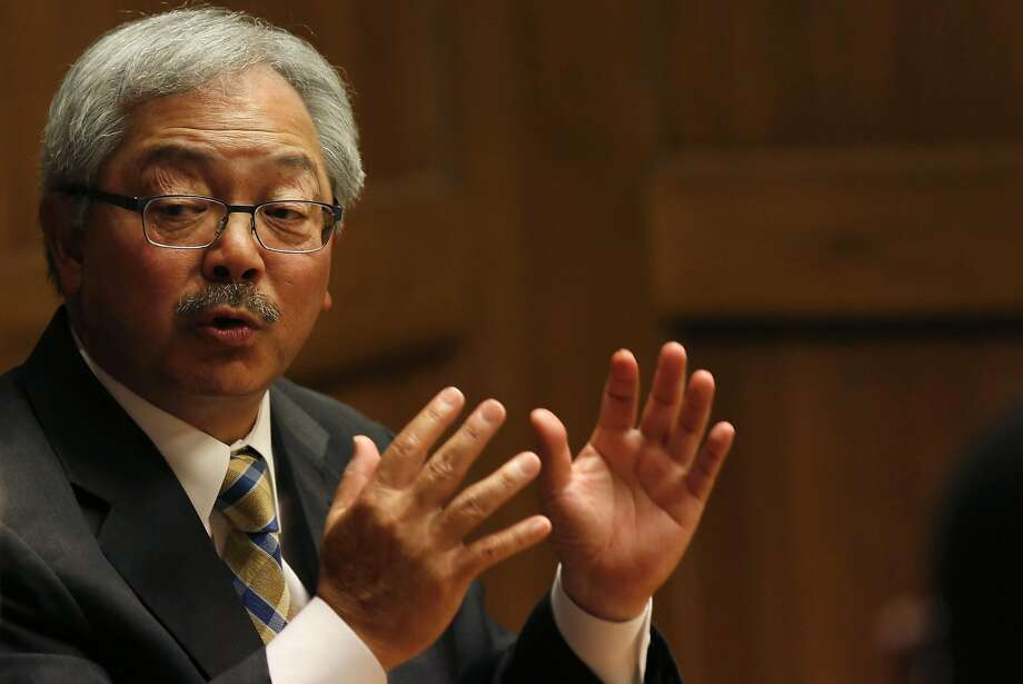 Mayor Ed Lee answers questions during a meeting with the San Francisco Chronicle's Editorial Board in this file photo from May 26, 2016 in San Francisco, Calif. A meeting with the San Francisco Board of Supervisors delayed voting on a proposal to allow nonprofit developers who build affordable projects to have three extra stories beyond allowed zoning rules. Photo: Leah Millis, The Chronicle