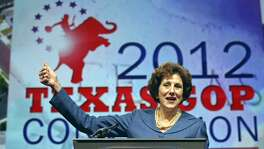 In this FILE PHOTO, state Comptroller Susan Combs speaks during the 2012 Texas GOP Convention held at the Fort Worth Convention Center Friday June 8, 2012 in Fort Worth, Texas.