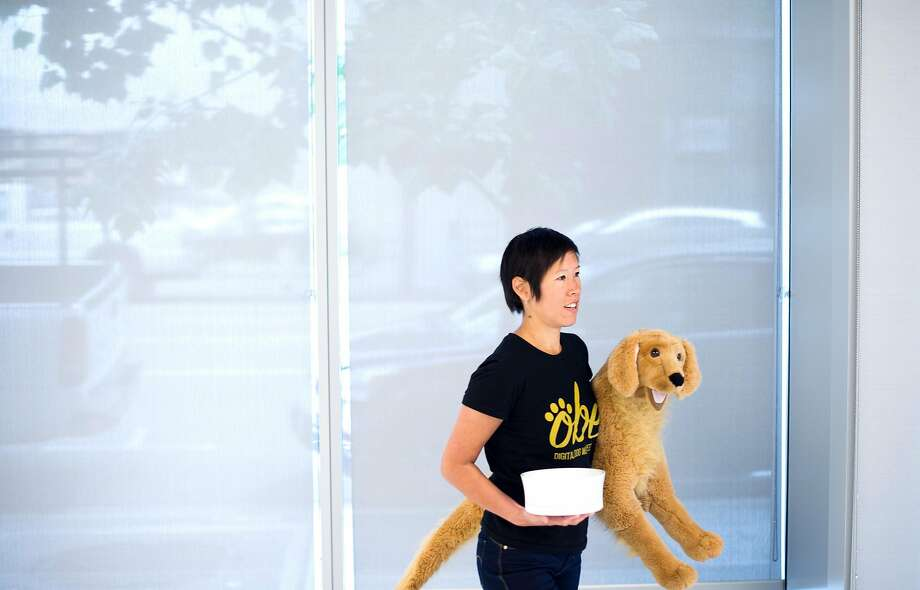 Jean Kao, chief product officer for Obe, prepares to pitch her business concept to a Shark Tank casting associate on Thursday, May 26, 2016, in San Francisco. Obe plans to products that help dog owners monitor their pets eating and habits. Photo: Noah Berger, Special To The Chronicle
