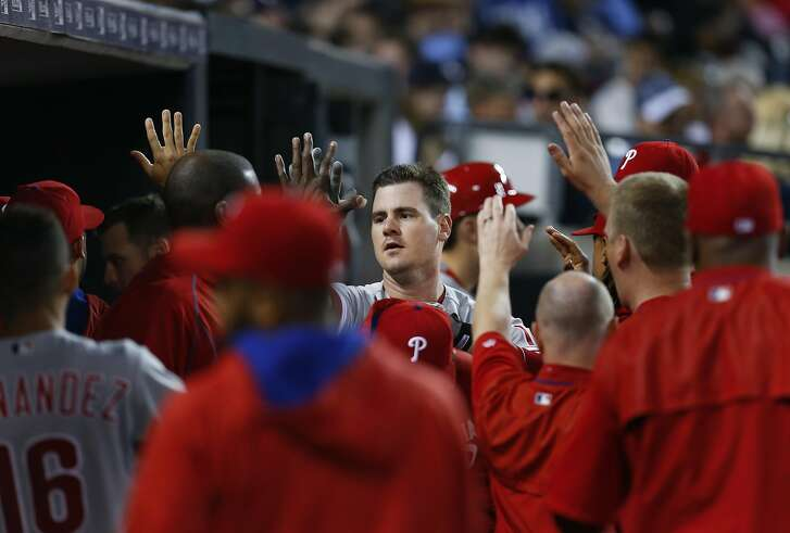 Philadelphia Phillies' Tommy Joseph celebrates his solo home run against the Detroit Tigers in the sixth inning of a baseball game Monday, May 23, 2016 in Detroit. (AP Photo/Paul Sancya)
