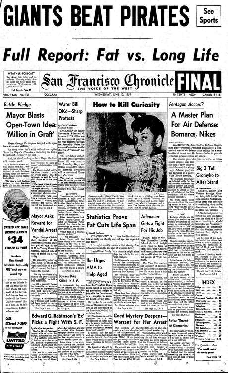 The Chronicle's front page from June 10, 1959, covers a study that showed obesity was tied to shorter life spans.