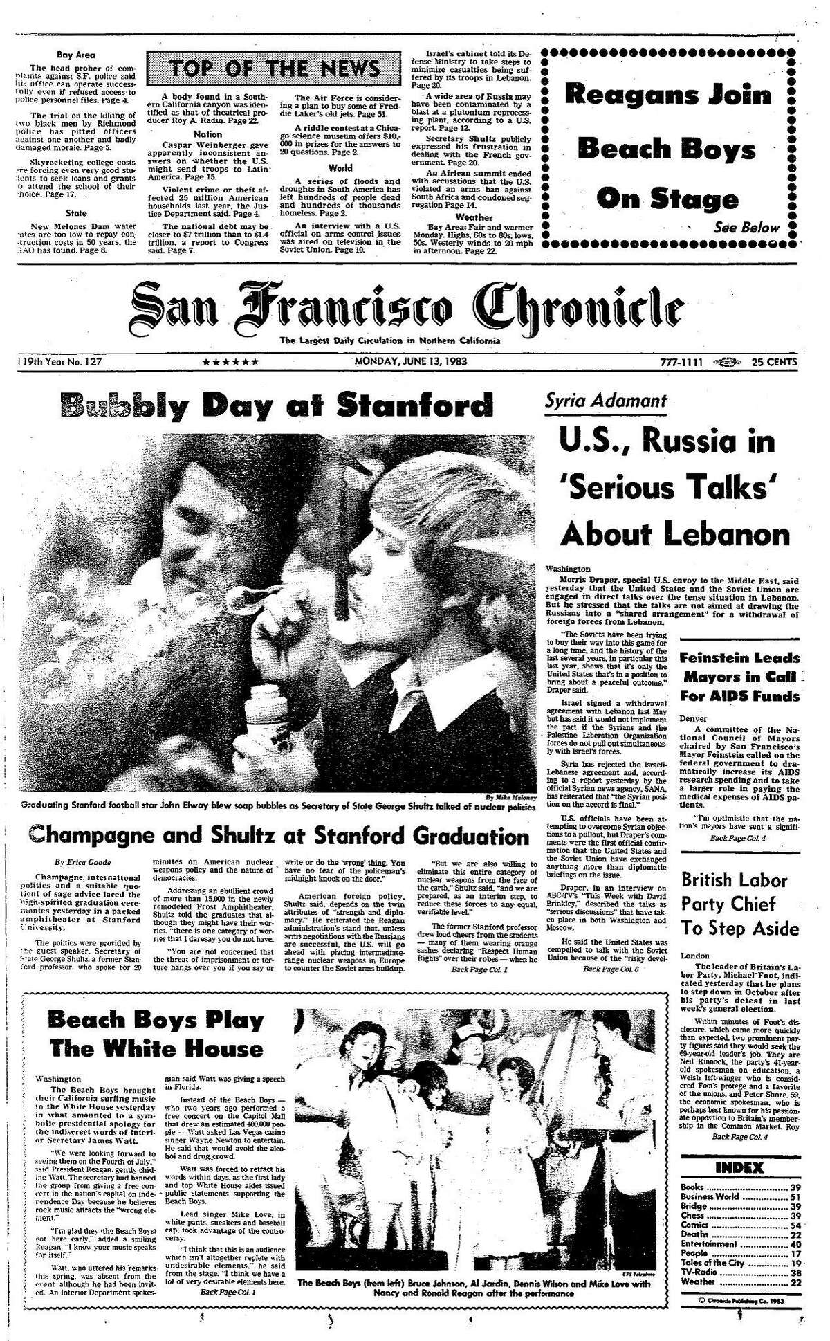Historic Chronicle Front Page June 13, 1983 John Elaway blows bubble at his Stanford graduation, and Beach Boys entertain Reagan at White House Chron365, Chroncover