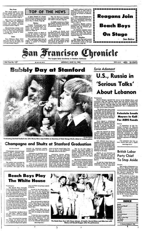 The Chronicle's front page from June 13, 1983, covers Stanford University's graduation and the Beach Boys playing at the White House.