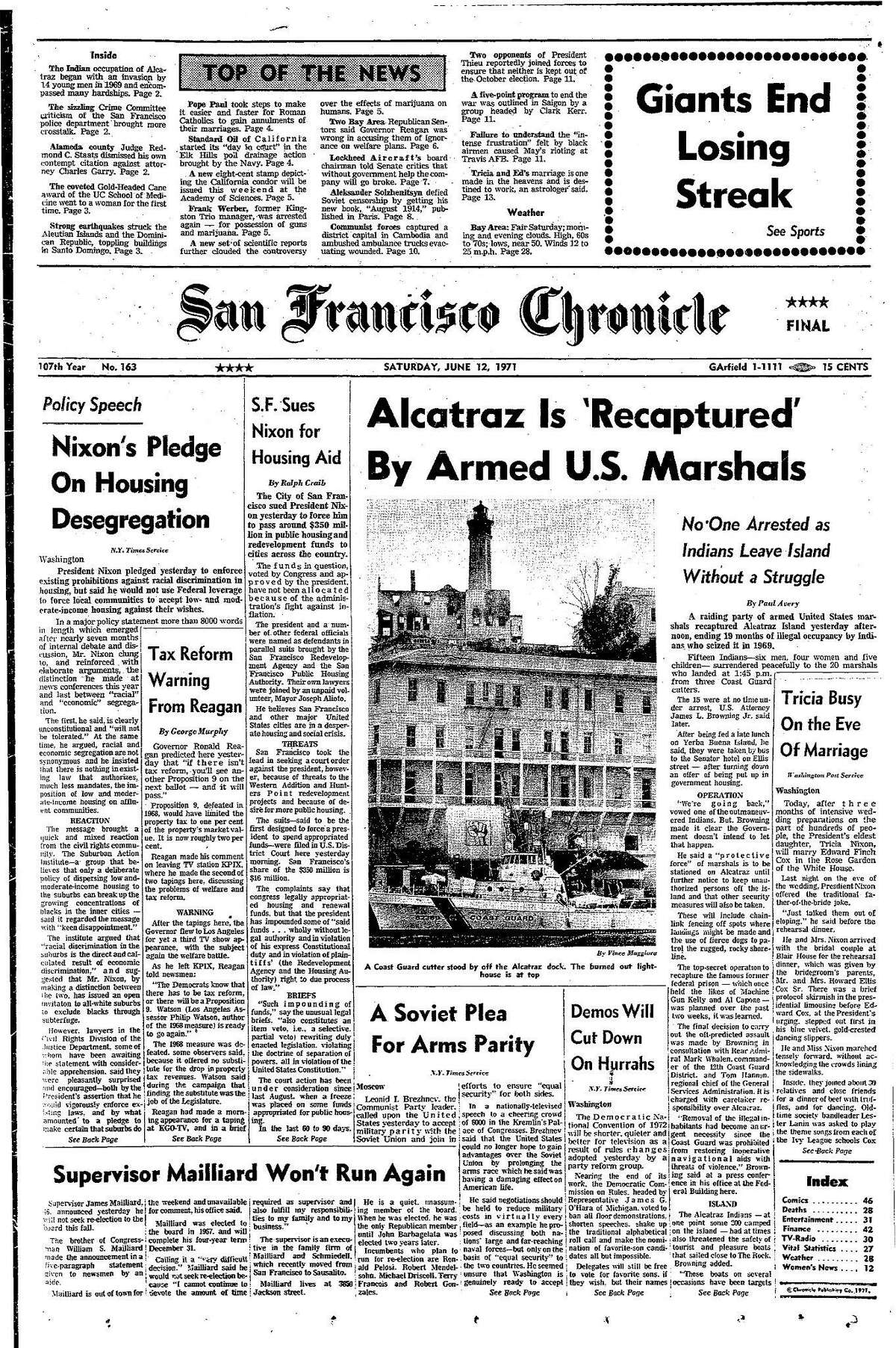 Historic Chronicle Front Page June 12, 1971 Alcatraz retaken by U.S. Marshalls, ni one arrested as Indians leave island without a struggle Chron365, Chroncover