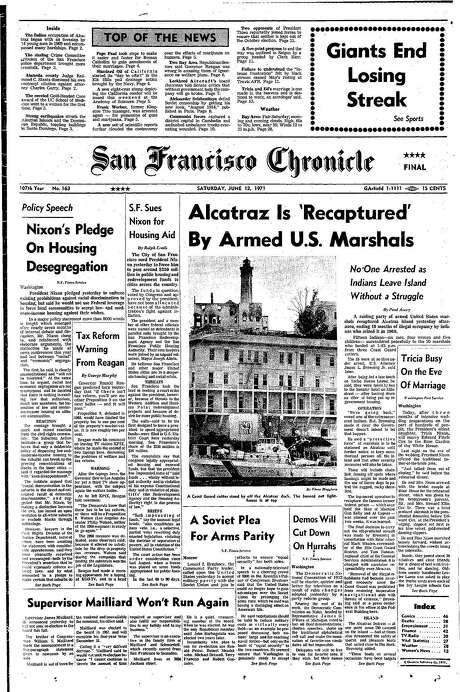 The Chronicle's front page from June 12, 1971, covers the removal of the last American Indians from Alcatraz after their occupation.