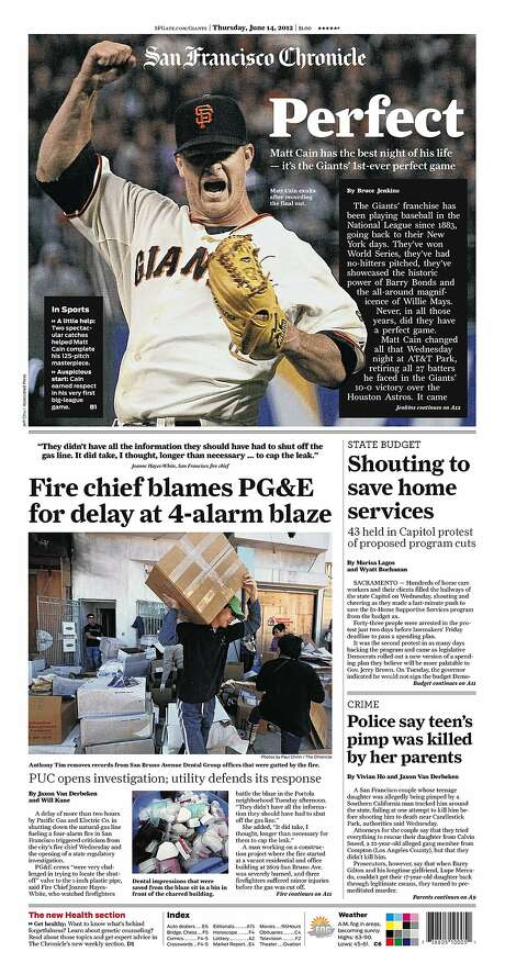 The Chronicle's front page from June 14, 2012, covers Matt Cain's perfect game, the first in San Francisco Giants history.