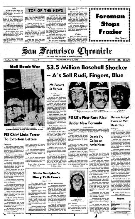 The Chronicle's front page from June 16, 1976, covers Oakland A's owner Charlie Finley's selloff of fan favorites Joe Rudi, Rollie Fingers and Vida Blue.