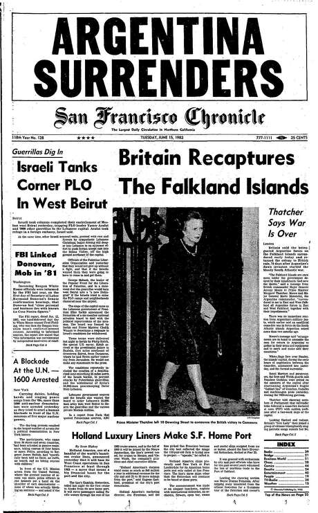The Chronicle's front page from June 15, 1982, covers Argentina's surrender in the Falklands War with Great Britain.
