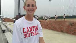Kailey Fox poses at the New Braunfels Canyon softball field in 2016.