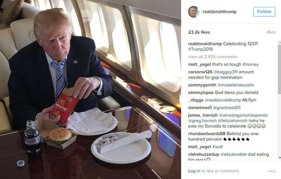 Donald Trump celebrates 1237 delegates with a McDonald's meal.
