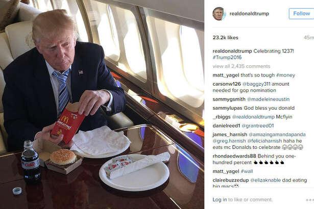 Donald Trump celebrates 1237 delegates with a McDonald's meal. Sad!