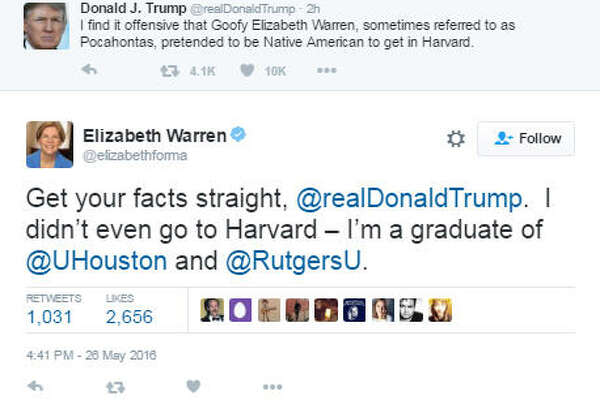 Massachusetts Sen. Elizabeth Warren tells Donald Trump he got another thing wrong. Click to see more famous Houston attendees in the gallery.