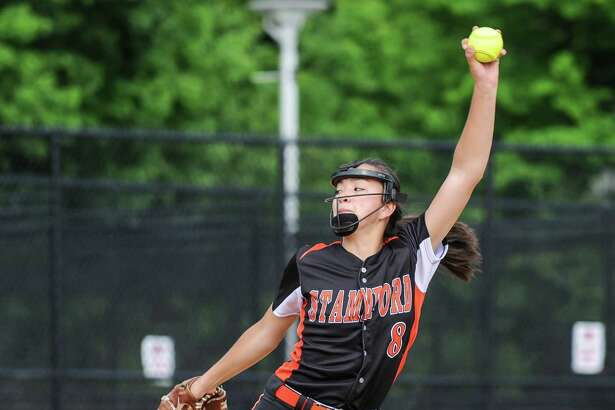 Sara Staley (8) of the Stamford Black Knights delivers a pitch during the FCIAC championship game against the St. Joseph Cadets at Sacred Heart University on May 26, 2016 in Fairfield, Connecticut.
