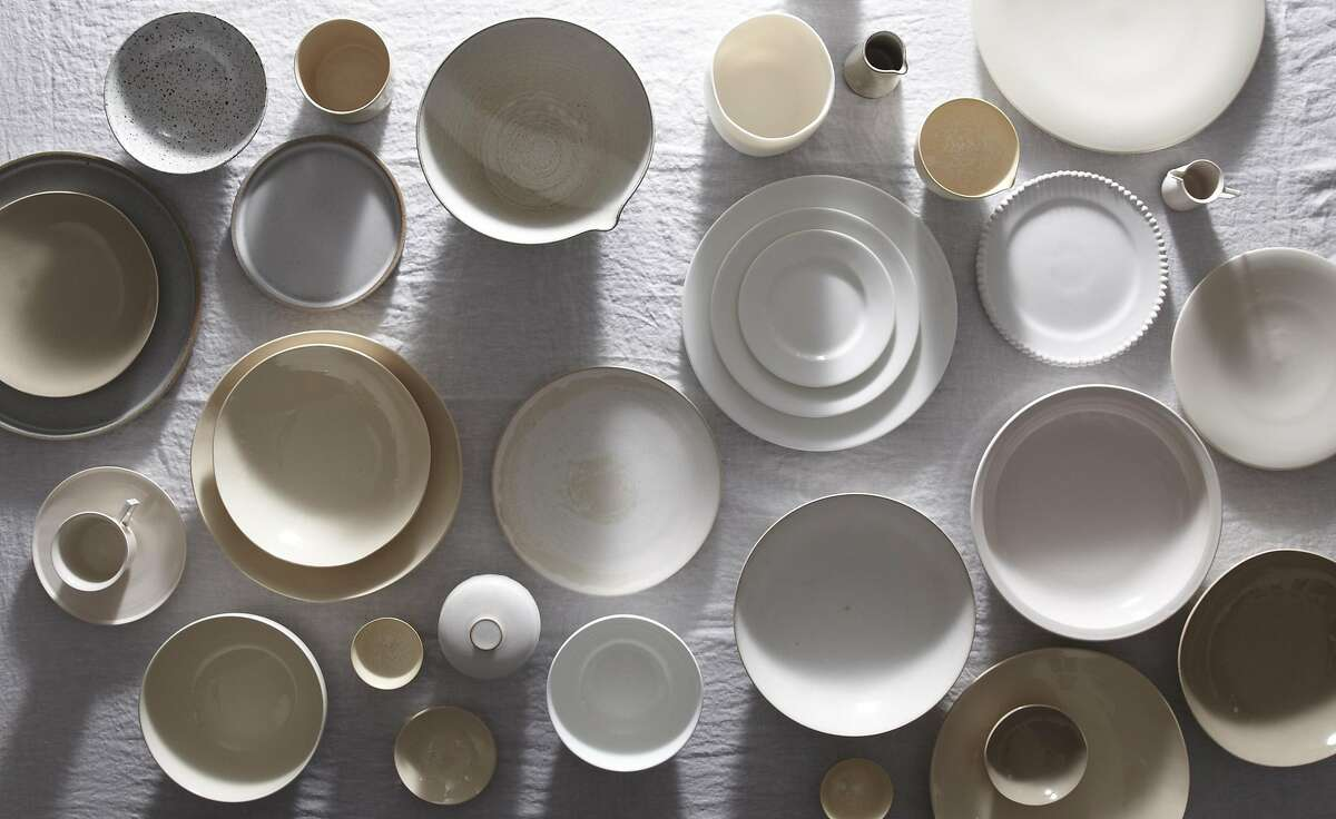Carter Kostow ceramic dinnerware, created in Napa Valley from clay�formulated to echo the variegated granite stone of California�s Sierra Nevada mountains (25-$45).