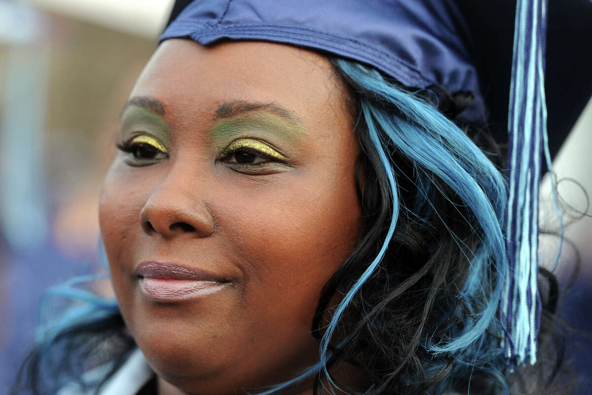Utika Sheffey, of Bridgeport, attends Housatonic Community College's 49th Commencement, held at the Webster Bank Arena, in Bridgeport, Conn. May 26, 2016.