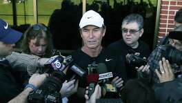 Baylor head football coach Art Briles talks to the media during the first day of spring football drills on Feb. 25, 2016, in Waco.