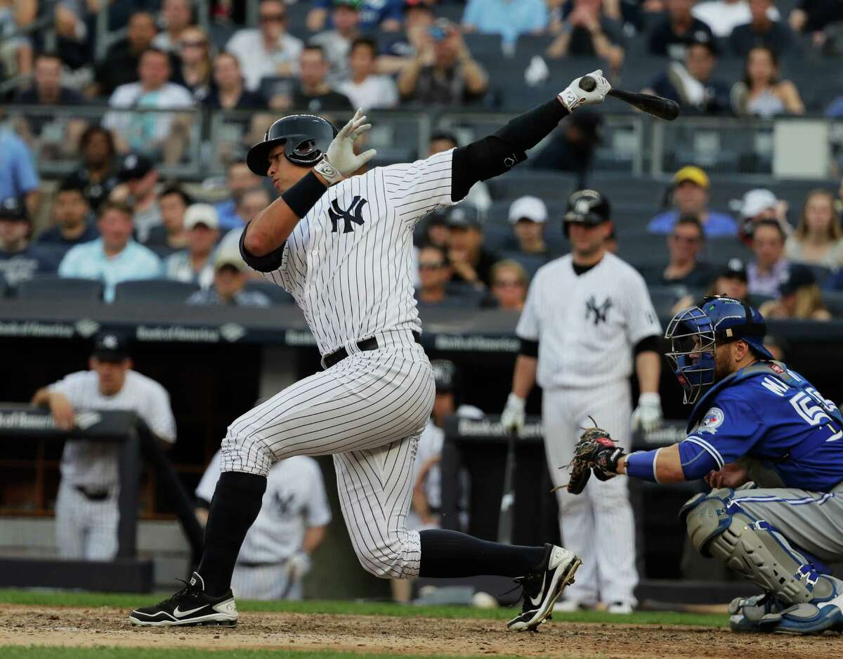 NEW YORK, NY - MAY 26: Alex Rodriguez #13 of the New York Yankees strikes out to end the game in a 3-1 loss to the Toronto Blue Jays during their game at Yankee Stadium on May 26, 2016 in New York City. (Photo by Al Bello/Getty Images) ORG XMIT: 607678263