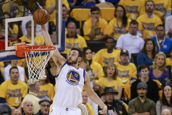 Golden State Warriors� Andrew Bogut goes up for shot in the second quarter during Game 5of the NBA Western Conference Finals at Oracle Arena on Thursday, May 26, 2016 in Oakland, Calif.