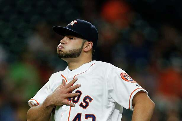 Houston Astros starting pitcher Lance McCullers (43) reacts after Colby Rasmus caught Baltimore Orioles Hyun Soo Kim's flyout in the fourth inning of an MLB baseball game at Minute Maid Park,Thursday, May 26, 2016.