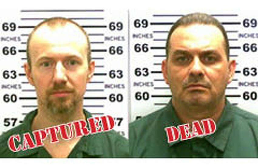 The three week manhunt for David Sweat, 35, and Richard Matt, 49, ended when law enforcement officers shot and wounded Sweat in Constable, N.Y., just miles from the Canadian border. Matt, who with Sweat broke out of Clinton Correctional Facility on June 6, 2015, was shot and killed. (Times Union archive)