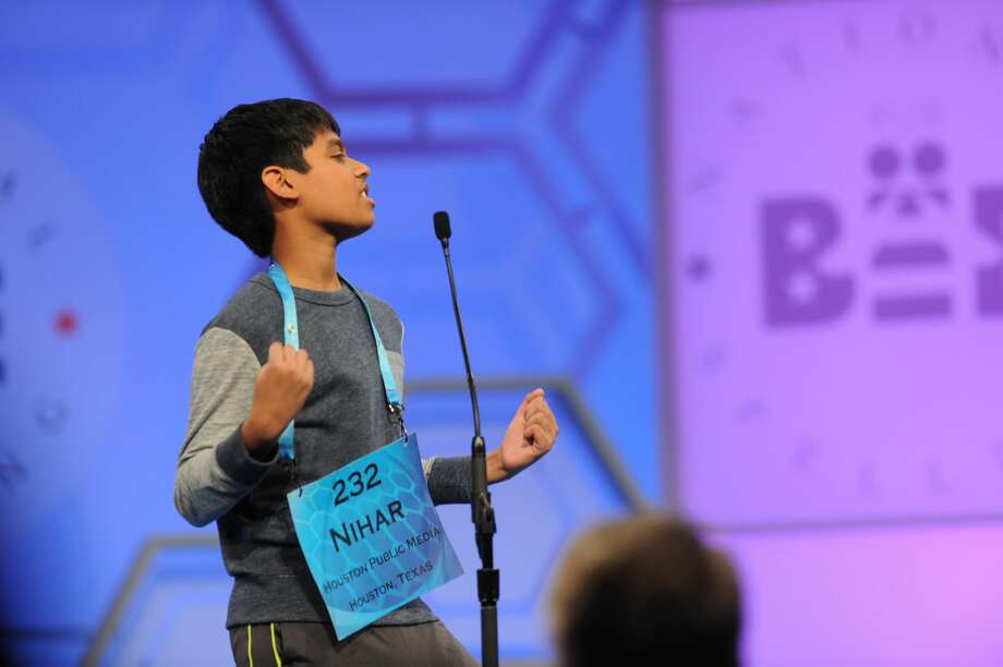 Co-champion Nihar Janga, 11, of Austin, reacts after spelling a word correctly. Photo: Mark Bowen / Scripps National Bee