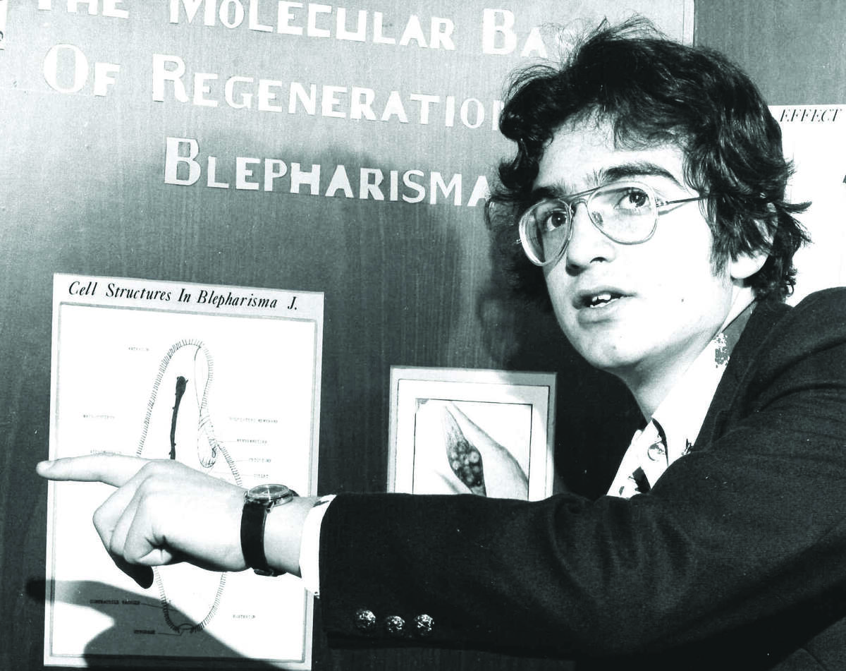 George Yancopoulos, founding scientist, president, Regeneron Laboratories, presents his 1976 high school science project. (Regeneron)